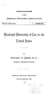 Cover of: Municipal ownership of gas in the United States