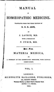 Cover of: Manual of Homoeopathic Medicine | G. H. G. Jahr