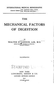 Cover of: The Mechanical Factors of Digestion