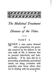 Cover of: The medicinal treatment of diseases of the veins: more especially of venosity, varicocele ... | James Compton Burnett
