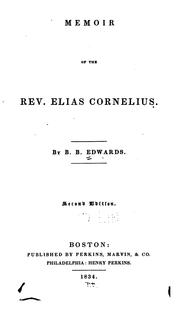 Cover of: Memoir of the Rev. Elias Cornelius | Bela Bates Edwards