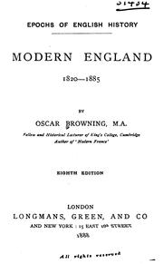 Cover of: Modern England, 1820-1885 | Oscar Browning