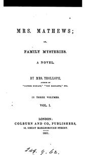 Cover of: Mrs. Mathews; or, Family mysteries | Judith Martin