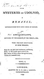 Cover of: The Mysteries of Udolpho: A Romance; Interspersed with Some Pieces of Poetry