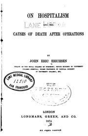 Cover of: On hospitalism and the causes of death after operations