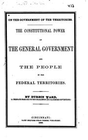 Cover of: On the Government of the Territories: The Constitutional Power of the ..