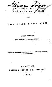 Cover of: The poor rich man, and the rich poor man