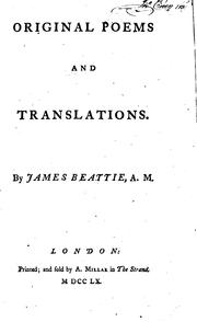Cover of: Original Poems and Translations: By James Beattie, A.M