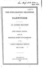 Cover of: The Philosophic Bearings of Darwinism