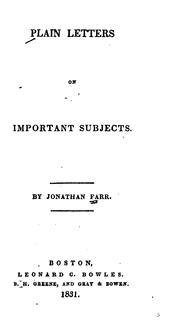 Cover of: Plain Letters on Important Subjects | Jonathan Farr