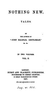 Cover of: Nothing new, tales, by the author of 'John Halifax, gentleman'