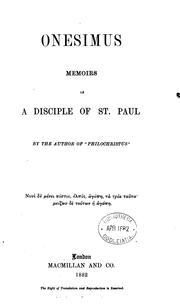 Cover of: Onesimus, memoirs of a disciple of st. Paul, by the author of 'Philochristus'