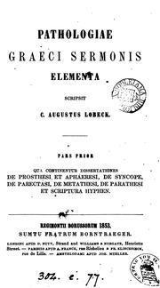 Cover of: Pathologiæ Græci sermonis elementa