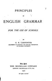 Cover of: Principles of English Grammar for the Use of Schools