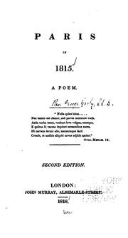 Cover of: Paris in 1815: A Poem ..