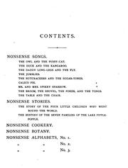 Cover of: Nonsense Songs, Stories, Botany, and Alphabets