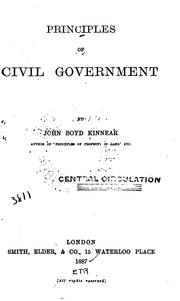 Cover of: Principles of Civil Government | John Boyd Kinnear