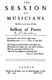 Cover of: The Session of Musicians. In Imitation of the Session of Poets: In Imitation ... | Thomas Tickell