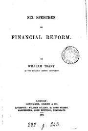 Cover of: Six speeches of financial Reform