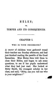 Cover of: Helen; or, Temper and its consequences |