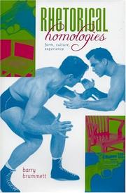 Cover of: Rhetorical homologies: form, culture, experience