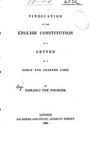 Cover of: Vindication of the English Constitution in a letter to a noble and Learned Lord