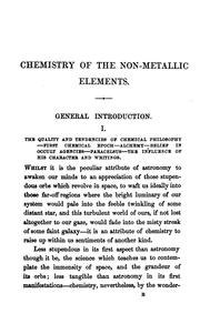 Cover of: The subject matter of a course of six lectures on the non-metallic elements, arranged by J. Scoffern