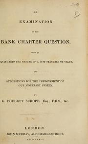 Cover of: An examination of the bank charter question
