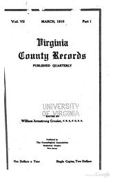 Cover of: Virginia County Records | William Armstrong Crozier