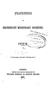 Cover of: Statistics of Protestant Missionary Societies: 1872-3