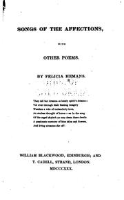 Cover of: Songs of the affections with other poems