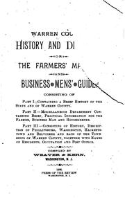 Cover of: Warren County History and Directory: Or, The Farmers̓ Manual and Business Mens̓ Guide |