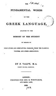 Cover of: The fundamental words of the Greek language [with Engl. transl.] adapted to the memory ... by ... |