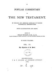 Cover of: A popular commentary on the New Testament, by English and American scholars, ed. by P. Schaff |