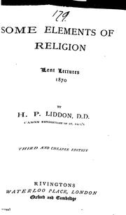 Cover of: Some elements of religion, Lent lectures