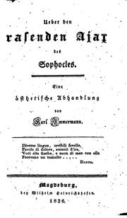 Cover of: Ueber den rasenden Ajax des Sophocles