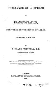 Cover of: Substance of a Speech on Transportation, Delivered in the House of Lords on ..