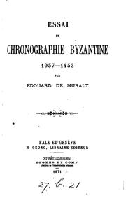 Cover of: Essai de chronographie byzantine 1057-1453