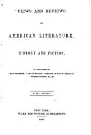 Cover of: Views and Reviews in American Literature, History and Fiction: History and ..