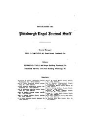 Cover of: Pittsburgh Legal Journal |