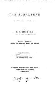 Cover of: The subaltern [by G.R. Gleig]. Library ed