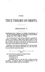 Cover of: The True Doctrine of Orbits: An Original Treatise on Central Forces |