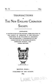 Cover of: Transactions of the New England Cremation Society. 1893 |