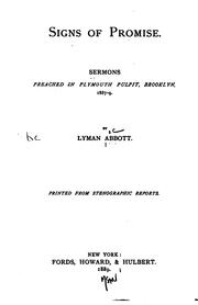 Cover of: Signs of Promise: Sermons Preached in Plymouth Pulpit, Brooklyn, 1887-9