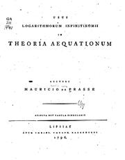 Cover of: Usus logarithmorum infinitinomii in theoria aequationum
