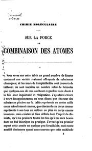 Cover of: Sur la force de combinaison des atomes: leçon faite à l'Institution royale ..