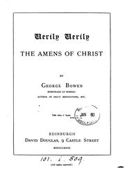 Cover of: Verily, Verily: The Amens of Christ