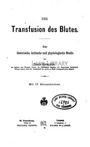 Cover of: Die Transfusion des Blutes