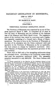 Cover of: Railroad Legislation in Minnesota, 1849 to 1875 |