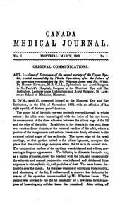 Cover of: Canada Medical Journal and Monthly Record of Medical and Surgical Science |